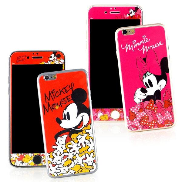 【Disney】iPhone66s強化玻璃彩繪保護貼-米奇米妮