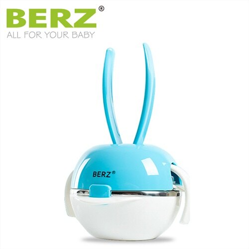 英國【BERZ】貝氏 彩虹兔五合一餐具組 (糖果藍) - 限時優惠好康折扣