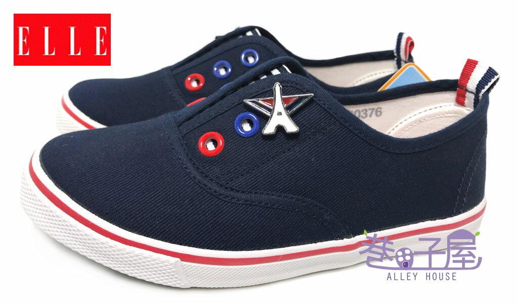 【巷子屋】ELLE 童款徽章鬆緊帶懶人帆布鞋 [60376] 深藍 MIT台灣製造 超值價$298