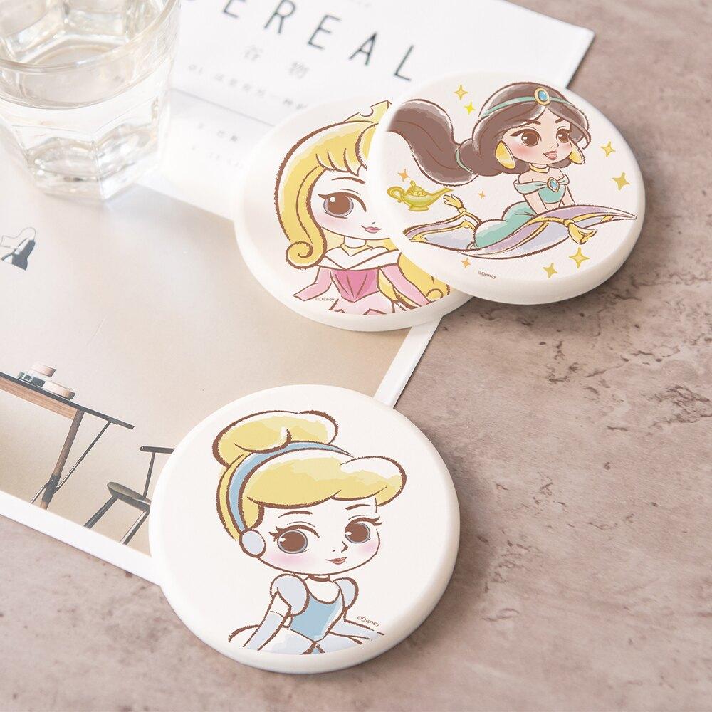 【買1送1 】迪士尼公主童話風珪藻土吸水杯墊 4