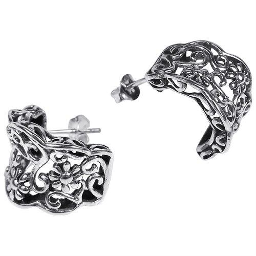 Gorgeous Floral Vines Half Hoop .925 Sterling Silver Post Earrings 1