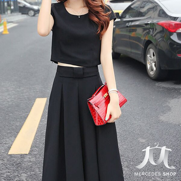 《全店75折》韓系兩件式修身上衣+寬腿褲 (M-2XL,3色) - 梅西蒂絲(現貨+預購) 1