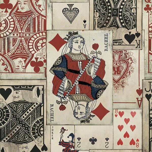 MindtheGapPlayCardsWP20019壁紙「訂貨單位156cmx3m套(1套3張壁板)」復古風撲克牌紙牌