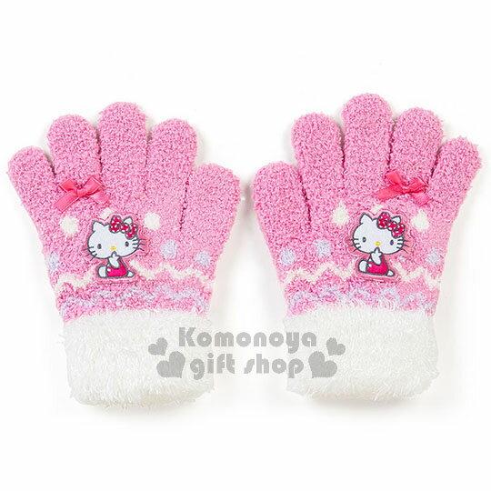 〔小禮堂〕Hello Kitty 兒童保暖手套《粉白.坐姿.緞帶.點點》秋冬禦寒小物