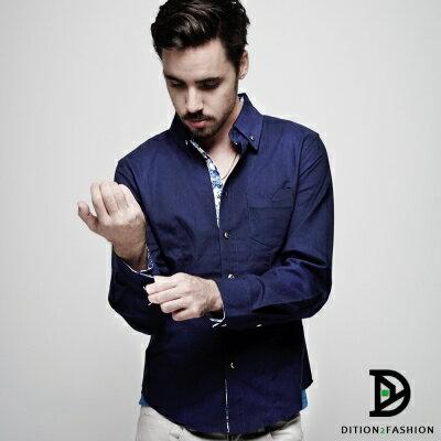 DITION 雕花ORIGINAL復古老味袖釦素色長袖襯衫 喜宴 正式 0