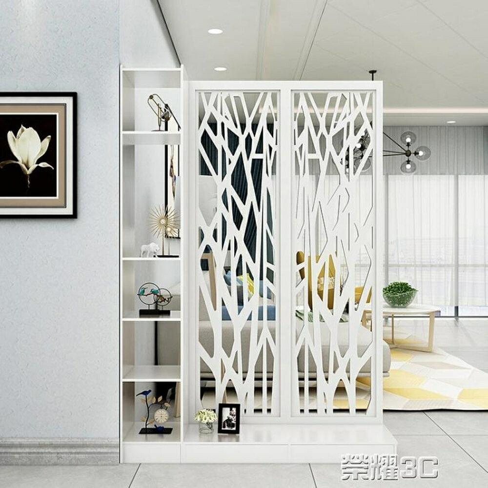 屏風 客廳屏風玄關櫃櫥窗雕花隔斷歐式現代白色門廳櫃間廳櫃置物儲物櫃 榮耀3c 2