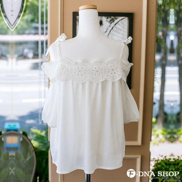 F-DNA★甜美肩綁帶蕾絲雪紡上衣(白-S-XL)【ETD2279】 3