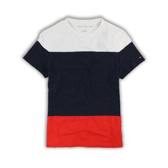 美國百分百【Tommy Hilfiger】T恤 TH 男 圓領 T-shirt 短袖 經典配色 logo 網眼 XS號 H766