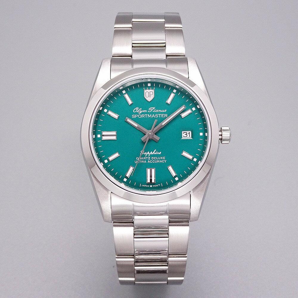 母親節優惠↘搶券再折$600|Olym Pianus 奧柏表 色彩衝擊革命運動型腕錶/38mm-綠面-89345GS|情人節寵愛禮|SUPER SALE 樂天購物節
