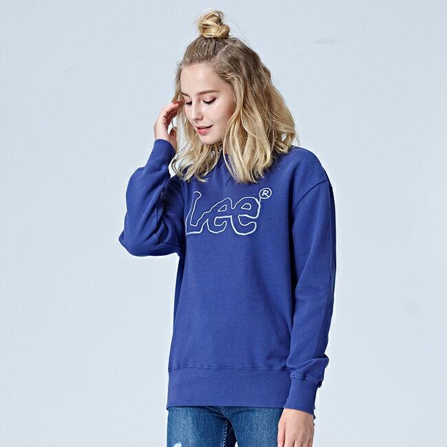 Lee 鎖鏈LOGO圓領厚長袖T恤 女款 藍紫
