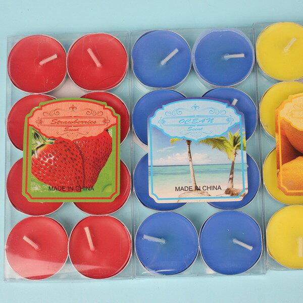 8入彩色香味圓型蠟燭 泡花茶蠟燭 彩色蠟燭/一小卡8個入{定40}秉B10094