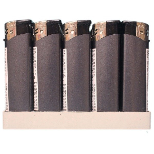 電子打火機 K-9E 灰黑色打火機 (明火)/一盒50個入(定20) 黑金鋼打火機 電子式打火機
