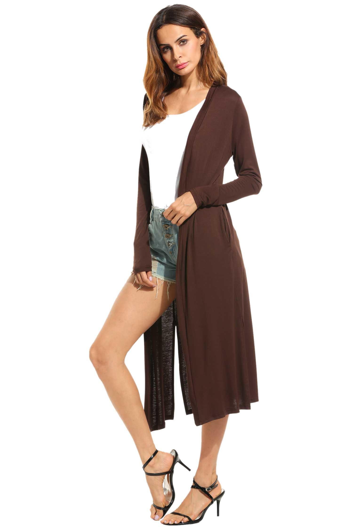 Women Casual Long Sleeve Solid Open Front Slit Long Maxi Cardigan 3