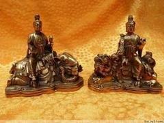 開光銅佛像 銅文殊普賢菩薩 青獅白象坐騎鎮宅招財銅器擺件