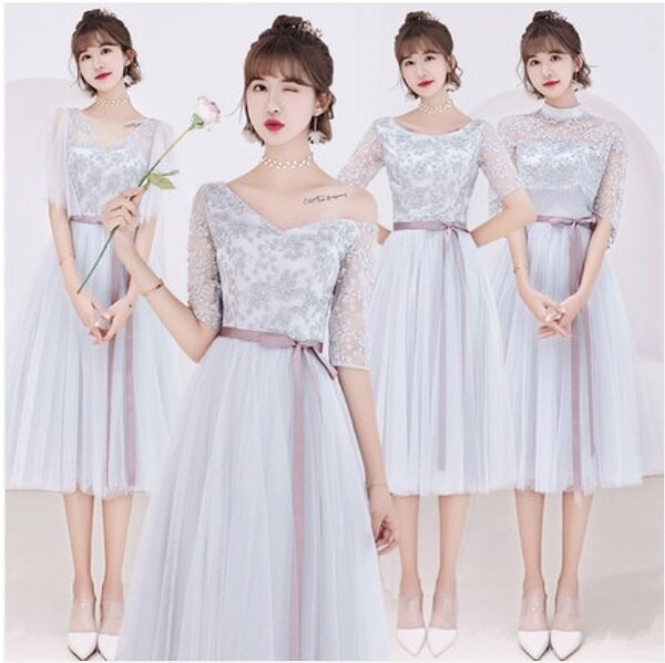 天使嫁衣【BL718A】灰色蕾絲網紗緞帶收腰中長款伴娘禮服˙預購客製款