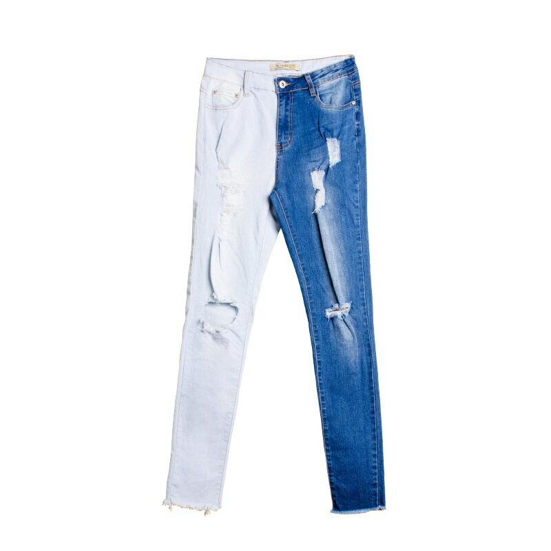牛仔褲丹寧小腳褲-拼色破洞修身鉛筆褲女長褲73wx6【獨家進口】【米蘭精品】 1