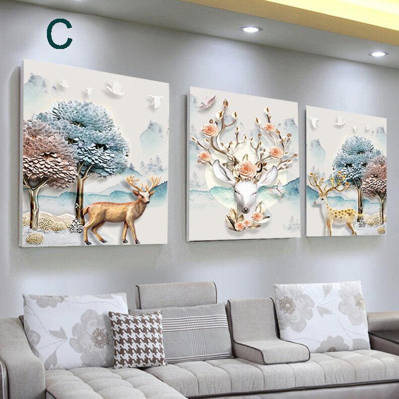 掛畫三件組【RS Home】北歐麋鹿無框掛畫相框木質壁畫裝飾畫板民宿攞飾油畫掛鐘掛畫 3