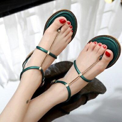 ~平底鞋金屬鏈羅馬涼鞋~ 優雅細緻包後跟女鞋子2色73ey9~ ~~米蘭 ~