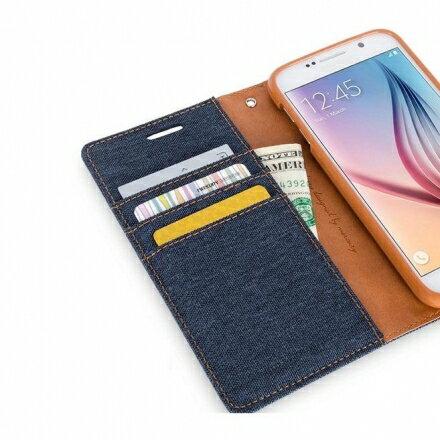 Mercury Samsung Note 5 韓風雙色牛仔紋 側掀磁扣支架式皮套 矽膠軟殼 紅灰黑色 1