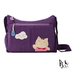 【ABS貝斯貓】貓布包斜側包 可愛貓咪拼布 肩背包 斜揹包(紫色88-210)【威奇包仔通】