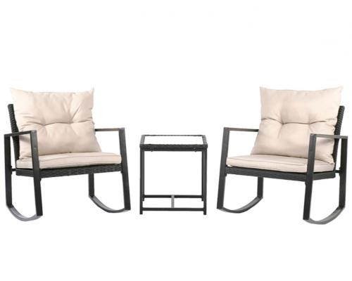 3Pc Outdoor Rocking Wicker Bistro Set 0