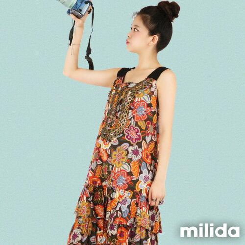 【Milida,全店七折免運】-夏季商品-無袖款-長版百摺洋裝 1
