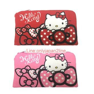 【真愛日本】17030300049帆布雙層資料袋-紅粉兩款  三麗鷗 Hello Kitty 凱蒂貓 收納袋 萬用袋