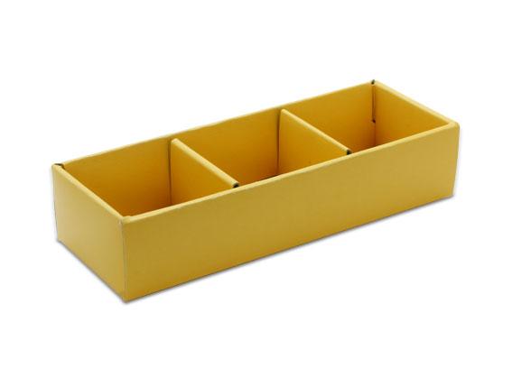 外帶盒、紙盒、包裝盒 3格 G17336-4(黃色)5 pcs含透明盒、附內格