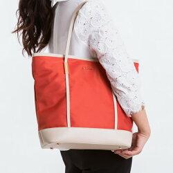 【le Lufon】橘紅色尼龍面拼皮革大容量實用肩背包(L) 手提包/肩背包(橘紅/粉紅/黑三色)托特包