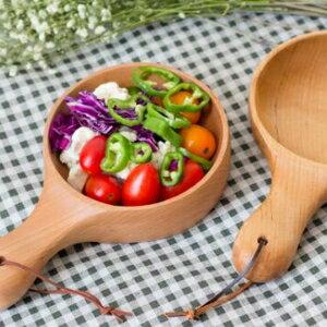 美麗大街【107051619】zakka創意韓式餐具木質帶柄泡菜碗
