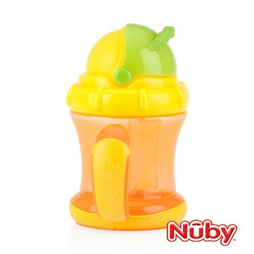 【全新現貨2個】Nuby卡拉雙耳彈跳吸管杯(360度吸管)210ml-橘黃150元