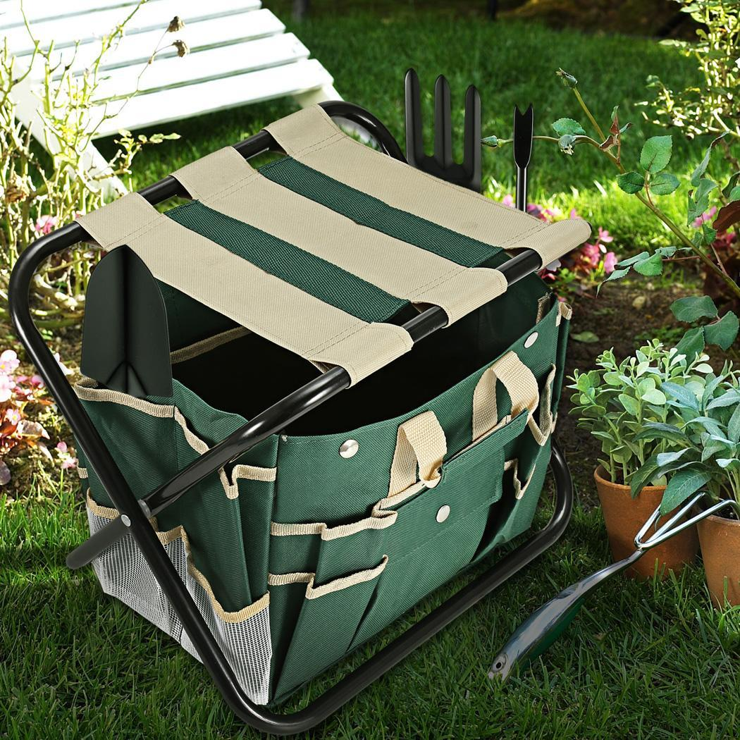 7 Piece Garden Tool Set Folding Stool with Tool Bag and 5 Stainless Steel Gardening Tools 5