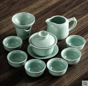 開片汝窯茶具套裝陶瓷功夫茶具套裝冰裂蓋碗家用茶壺茶具 【4-4超級品牌日】