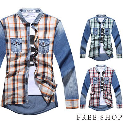 Free Shop【QR20322】日韓雅痞簡約大格紋拼布刷白水洗丹寧設計牛仔襯衫長袖襯衫‧三色