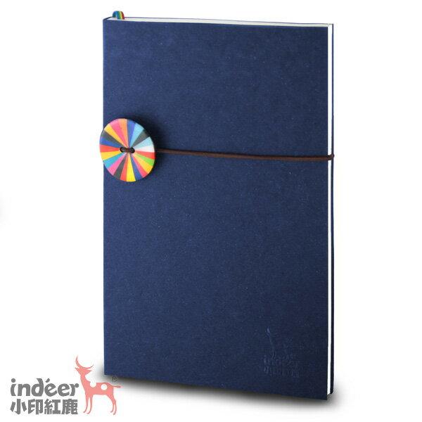 【indeer小印紅鹿】超輕手感 法式質感素色封面 手工製作 │ 巴黎小日光筆記本-深邃藍