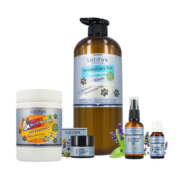 《Herbox荷柏園》最愛毛寶貝呵護理膚組【複方精油+按摩油+洗毛精+益生菌+珍草膏】