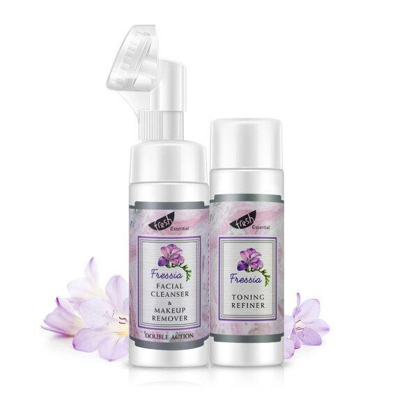 《Herbox荷柏園》小蒼蘭清潔補水組(洗卸慕斯+化妝水)(卸妝清潔補水矽膠刷頭)