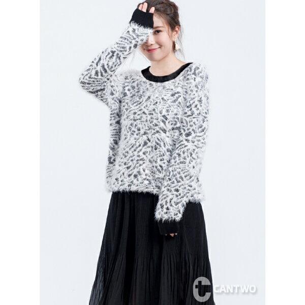 CANTWO:CANTWO豹紋羽絨紗針織上衣白色款