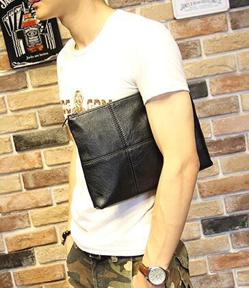FINDSENSE Z1 韓國 時尚 潮 男 黑色 皮質 格子圖案 休閒 手拿包 皮夾包 公事包 多功能 側背包