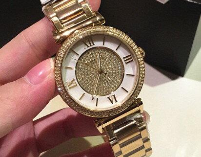 美國Outlet正品代購 MichaelKors MK 復古羅馬滿天星貝殼面鑲鑽金色    手錶 腕錶 MK3332 4
