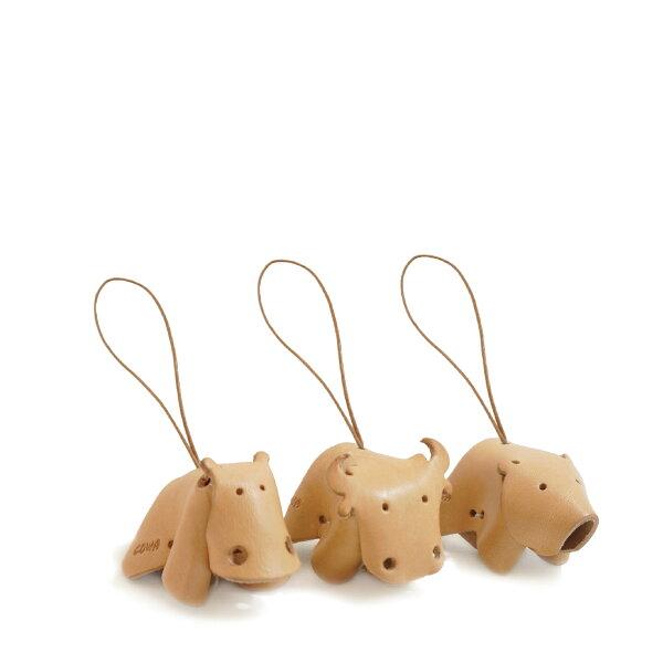牛革動物吊飾-牛河馬熊