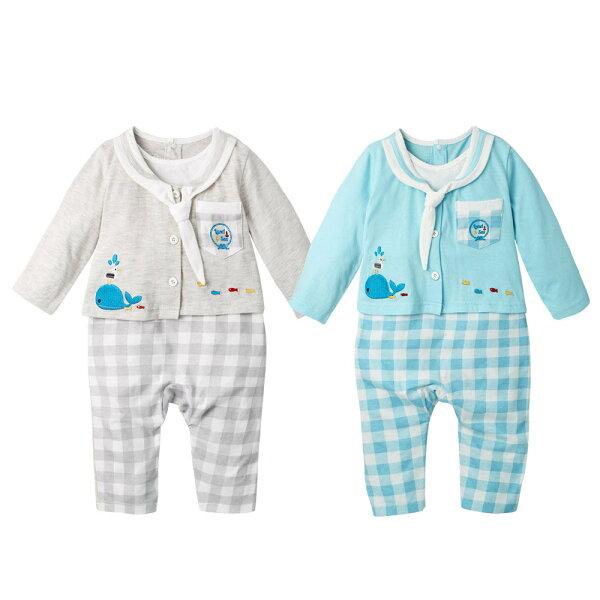 baby童衣:AugeluteBaby海軍領水手服假2件薄長袖連身衣61130