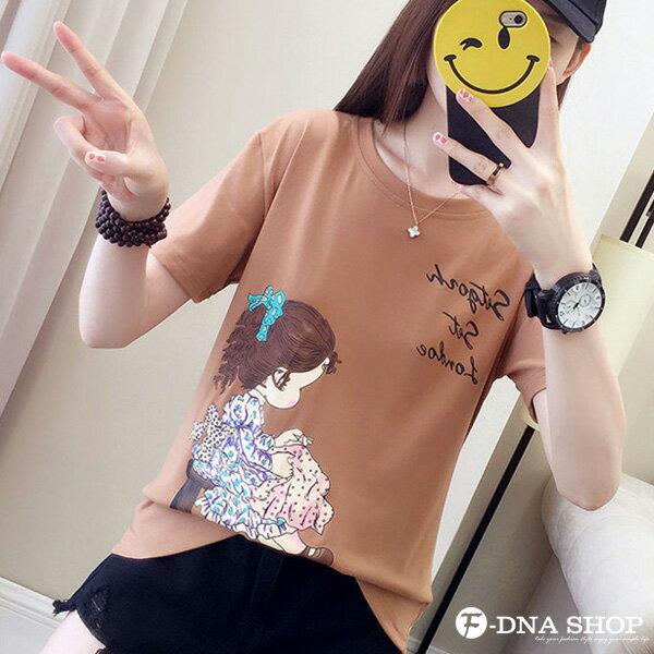 F-DNA★清新小女孩側影印圖圓領短袖上衣T恤(3色-M-2XL)【ET12698】 7