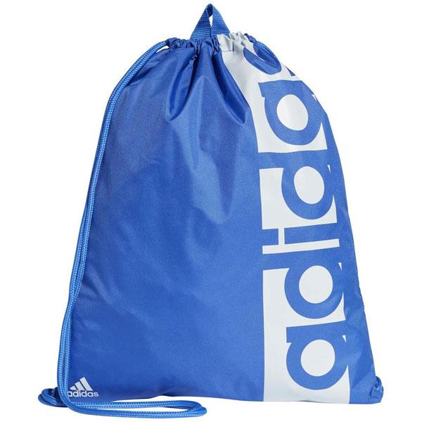 ADIDASLINPERGYMBAG後背包束口袋健身訓練鞋袋輕巧LOGO藍白【運動世界】CF5014