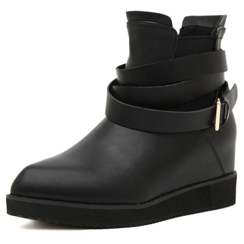 皮帶扣內增高馬丁靴坡跟短靴英倫風女厚底靴黑色厚底尖頭切爾西靴軍靴