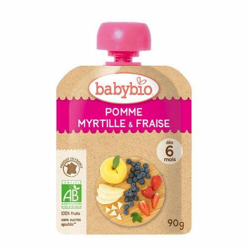 法國倍優Babybio有機蘋果藍莓草莓纖果泥隨行包6m+