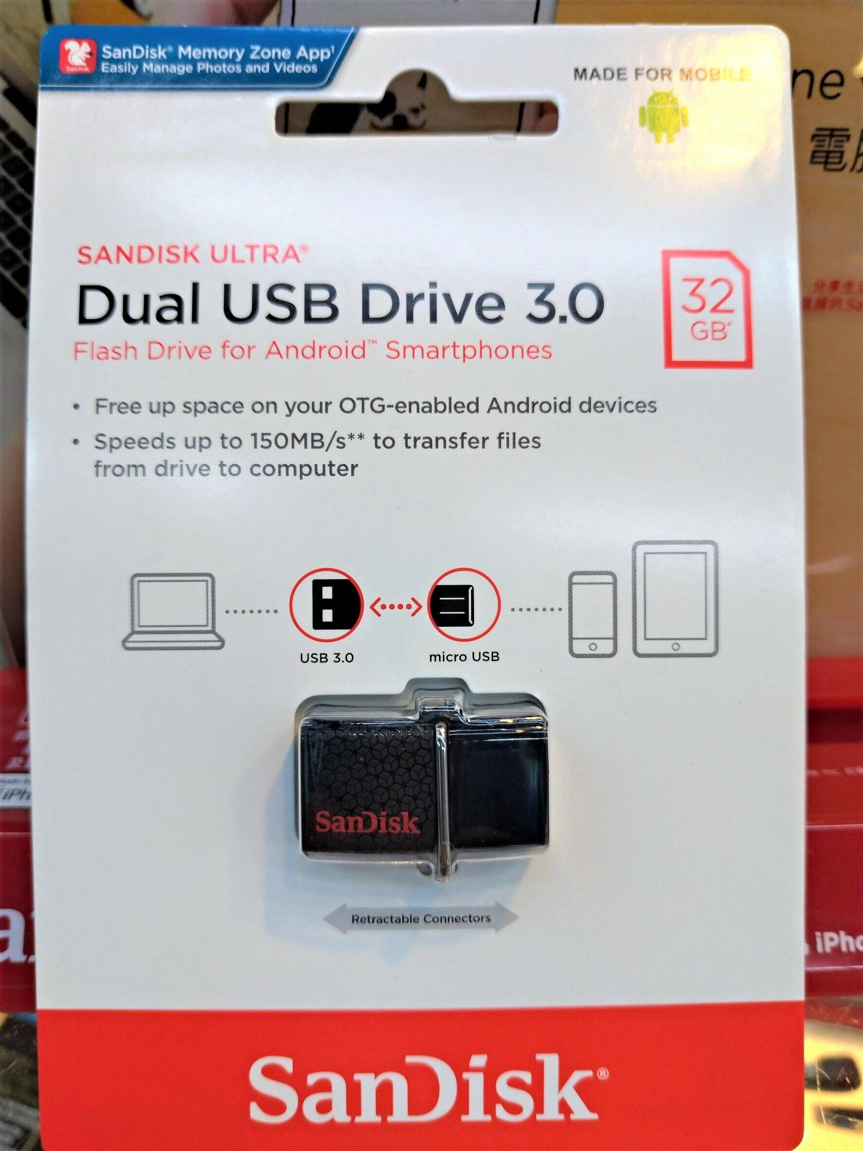 免運 Sandisk 32GB ULTRA SDDD2 USB3.0 32G 雙用隨身碟 Android 安卓專用 OTG 備份 手機儲存碟 公司貨