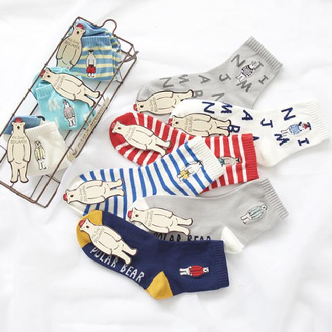 50%OFF【W018372SK】MISSZUING秋冬襪子批發 個性刺繡北極熊女士中筒襪 棉襪 - 限時優惠好康折扣