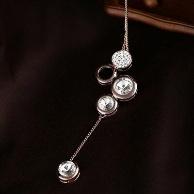 ~玫瑰金項鍊 鑲鑽純銀吊墜~ 奢華耀眼奪目生日情人節 女飾品73dw179~ ~~米蘭 ~