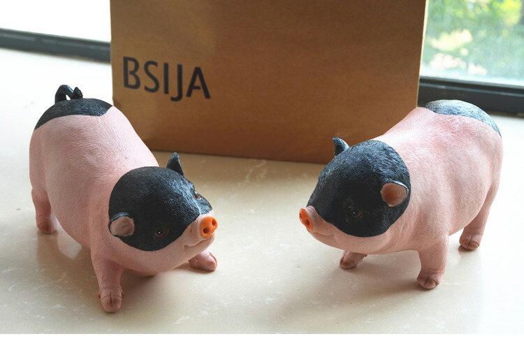 花園庭院 豬擺件家居裝飾樹脂小動物仿真可愛小豬雕塑 招財工藝品